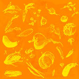 Nourriture tirée par la main de griffonnage, légumes Objets jaunes, illustration sans couture de conception de fond d'aquarelle o Photo libre de droits