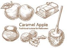 Nourriture traditionnelle de Halloween Caramel Apple illustration libre de droits
