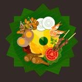 Nourriture traditionnelle de riz de tumpeng de l'Indonésie Image libre de droits
