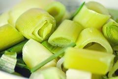 Nourriture végétale de poireau coupée en tranches et crue Photo libre de droits