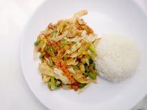 Nourriture végétarienne avec le tofu, le radis et le cari doux et le riz thaïlandais de jasmin, nourriture saine photos libres de droits