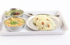 Nourriture végétarienne indienne du sud de Rava Idli Images libres de droits