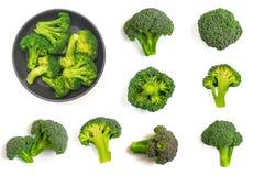 Nourriture verte de modèle de brocoli Légume d'isolement sur le fond blanc Vue supérieure photos stock