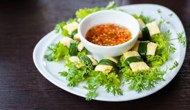 Nourriture végétale du Vietnam de petit pain d'omelette Photo libre de droits