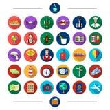 Nourriture, voyage, tourisme et toute autre icône de Web dans le style de bande dessinée Portmone, repos, icônes de restaurant da Photos stock