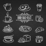 Nourritures de petit déjeuner tirées par la main décoratives d'icônes illustration stock