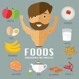 Nourritures pour des muscles de construction Images libres de droits