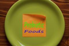 Nourritures Probiotic écrites sur une note Photos libres de droits