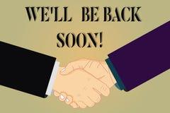 Nous écrivant à apparence de note Ll soyons de retour bientôt Photo d'affaires présentant prenant un short pour éclater du travai illustration libre de droits