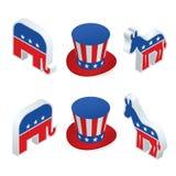 Nous élection 2016 infographic Élection des Etats-Unis de vecteur de Digital avec qui est prochaine, républicain ou partie de dém illustration stock