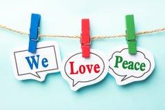 Nous aimons la paix Photos stock
