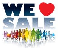 Nous aimons la vente Image stock