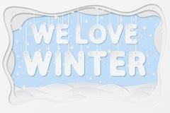 Nous aimons le texte d'hiver Image stock