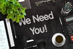Nous avons besoin de vous sur le tableau noir rendu 3d Photos stock