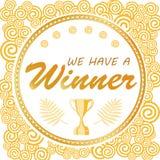 Nous avons un gagnant Bannière de don pour des concours sociaux de media Image stock