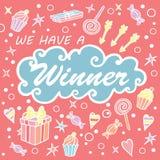 Nous avons un gagnant Bannière de don pour des concours sociaux de media Images libres de droits