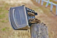Nous boîte de rangement de courrier cassée par le vent Images stock