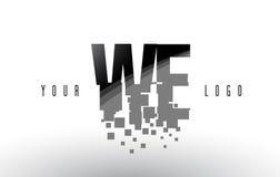 NOUS logo de lettre de pixel de W E avec les places noires brisées par Digital Photo libre de droits