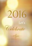 2016 nous ont laissés célébrer sur le fond abstrait de bokeh de tache floue Photographie stock