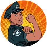 Nous pouvons le faire cha noir d'avatar d'art de bruit d'Afro-américain de policier illustration stock