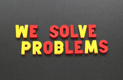 Nous résolvons des problèmes Image libre de droits