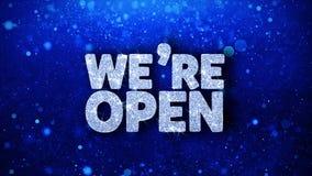 Nous sommes texte bleu ouvert souhaite des salutations de particules, invitation, fond de célébration illustration libre de droits