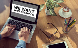 Nous voulons votre concept de rétroaction Images libres de droits