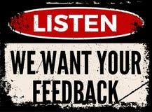 Nous voulons votre conseil d'attention de rétroaction illustration stock