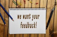 Nous voulons votre rétroaction ! Image libre de droits