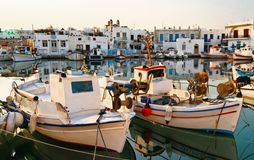 Noussa town marina. Boats tied up at town marina or pier in Paros, Greece Royalty Free Stock Photography