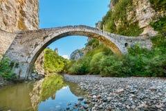 Noutsos stone bridge. Central Zagori, Greece Royalty Free Stock Photo