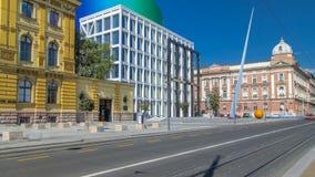 Nouveau bâtiment de timelapse croate d'académie de musique à Zagreb, Croatie banque de vidéos