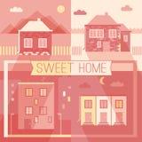 Nouveau bâtiment et icônes plates de conception de maisons privées Image stock