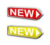 Nouveau bouton rouge et jaune de flèche en métal Photographie stock