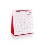 Nouveau calendrier de bureau blanc de 2017 Tir de studio d'isolement sur le petit morceau Image libre de droits