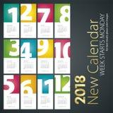 Nouveau calendrier de bureau fond de portrait de 2018 nombres de mois Images stock