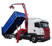 Nouveau camion à ordures moderne d'isolement sur le blanc photo stock