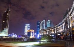 Nouveau centre de la ville à Astana Photographie stock
