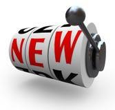 Nouveau changement d'innovation de roues de machine à sous de Word Photo libre de droits