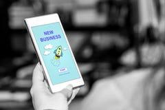 Nouveau concept d'affaires sur un smartphone photos libres de droits