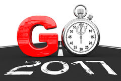 Nouveau concept de 2017 ans Le chronomètre comme vont signent sur 2017 nouvelles années R illustration stock