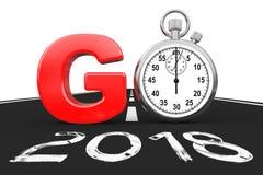 Nouveau concept de 2018 ans Le chronomètre comme vont signent sur 2018 nouvelles années R Image libre de droits
