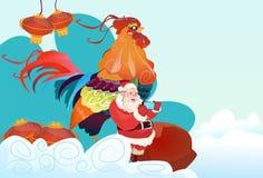 Nouveau coq heureux de 2017 ans avec Santa Clause Asian Horoscope Symbol illustration de vecteur