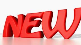 NOUVEAU dans les lettres rouges sur le fond blanc - 3D rendant la vidéo