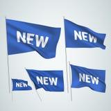 Nouveau - drapeaux bleus de vecteur Photos libres de droits