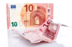 Nouveau et vieux billet de banque de l'euro dix Photos stock