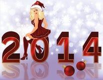 Nouveau fond de 2014 ans avec la fille sexy de Santa Photo libre de droits