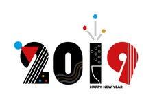 Nouveau 2019 heureux - calibre de vecteur pour une affiche, bannière, carte postale, couverture sur le site, créé par les figures illustration de vecteur