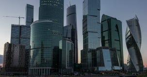 Nouveau laps de temps de ville de Moscou au coucher du soleil 7 juillet 2016 banque de vidéos