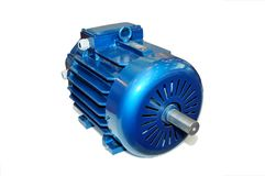 Nouveau moteur électrique bleu Images libres de droits